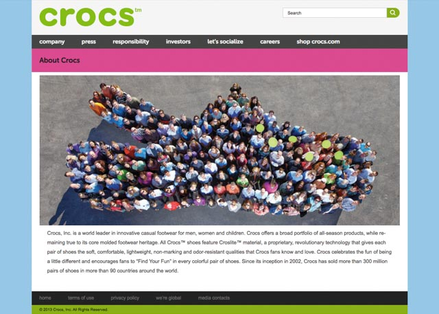 screenshot of Crocs website with bright brand colors and crisp text