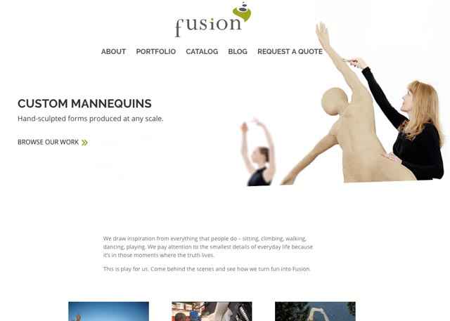 screenshot of Fusion Specialties site with tons of glorious white space, photos of mannequins that evoke graceful movement, and artists sculpting forms in clay.